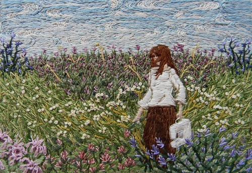 Her horizon seemed to her limitless. Stitched painting by Michelle Kingdom