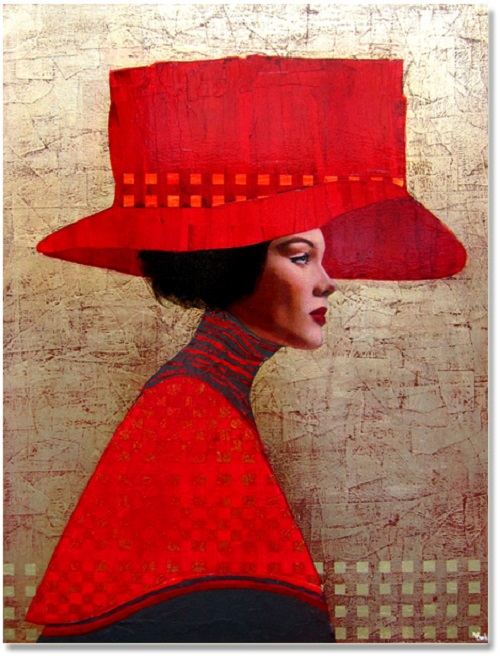 Julie. Female portrait, oil painting by French artist Richard Burlet