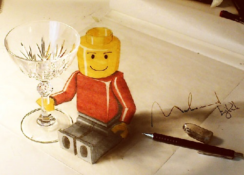 LEGO man. 3D pencil drawing by Syrian artist Muhammad Ejleh