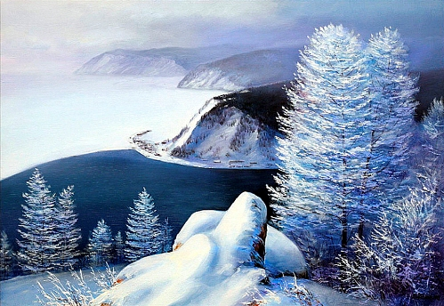 Lake Baikal. Oil on canvas. Russian landscape painter Sergey Belov