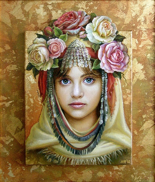 Lazarka, oil on canvas by Bulgarian painter Maria Ilieva