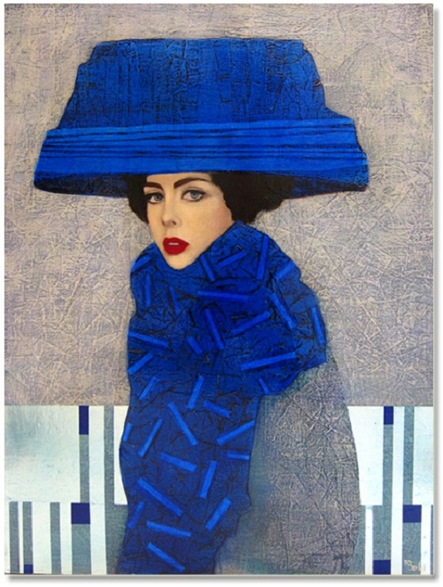 Le chapeau bleu. Female portrait, oil painting by French artist Richard Burlet