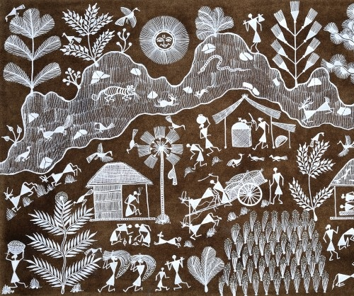 Life in a Hamlet. Folk painting on Cotton Fabric. Artist Naresh S. Bhoye, Village of Warli Tribe (Maharashtra)