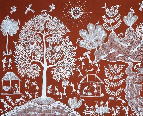 Life on the Bank of a River. Folk painting on Cotton Fabric. Artist Dilip A. Parhyad, Village of Warli Tribe (Maharashtra)