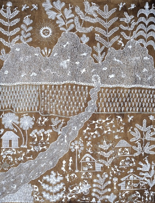 Life on the Bank of a River. Folk painting on Cotton Fabric. Artist Naresh S. Bhoye, Village of Warli Tribe (Maharashtra)