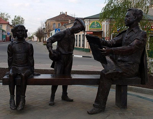 Monument to an artist in Yelets, Russia