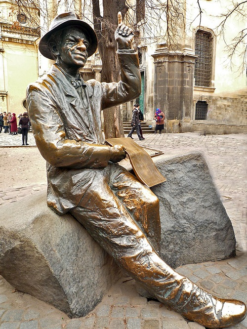 Monuments to artists. Monument to the painter Nikifor Krynicki, Lvov, Ukraine
