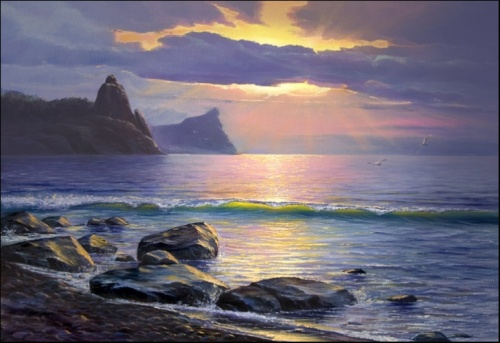 Morning on the Lake Baikal. View of the Cape Malaya Kolokolnya. 2008 oil on canvas