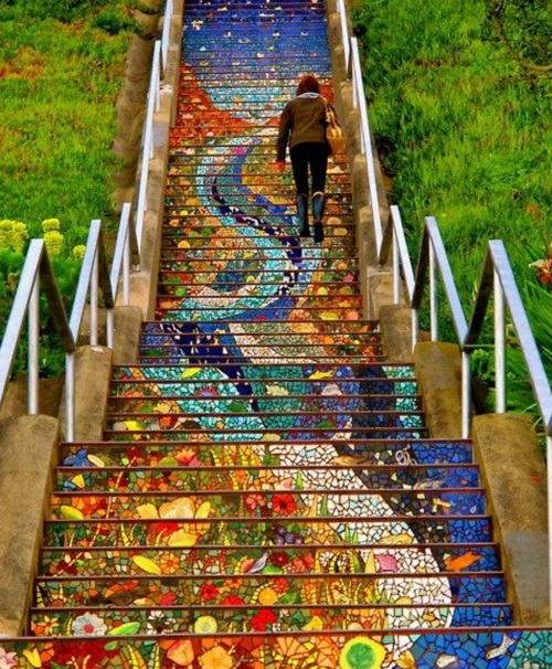 Mosaic stairs Tiled Steps. The unique art project by mosaic artist Colette Crutcher and Irish ceramist Aileen Barr