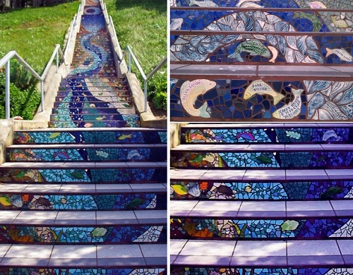 Mosaic stairs 'Tiled Steps'. The unique art project by mosaic artist Colette Crutcher and Irish ceramist Aileen Barr
