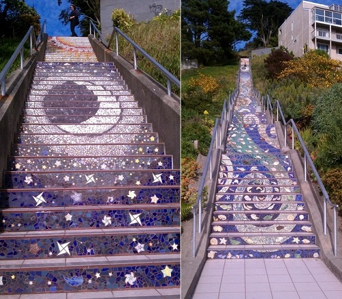 Mosaic stairs Tiled Steps