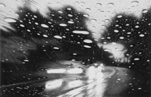 Mulholland Drive. Hyperrealistic 'Rainscapes' painting by American artist Elizabeth Patterson