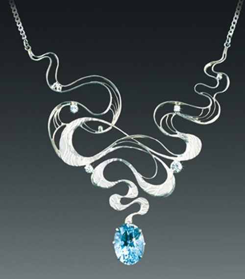 Necklace 'Air'. From the series 'The Four Elements'. Silver, topaz. Artwork by Russian jeweler Boris Kolesnikov