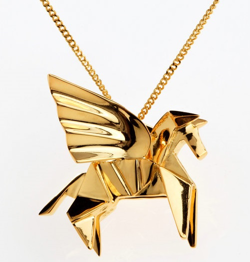 Origami jewelry. Sterling silver, gold plated. Artwork by French designers Arnaud Soulignac and Claire Naa
