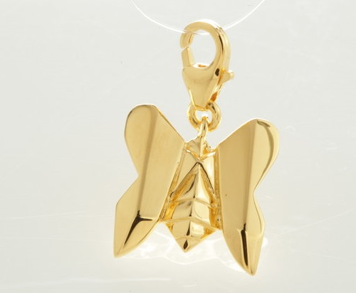Butterfly. Origami jewelry. Sterling silver, gold plated. Artwork by French designers Arnaud Soulignac and Claire Naa