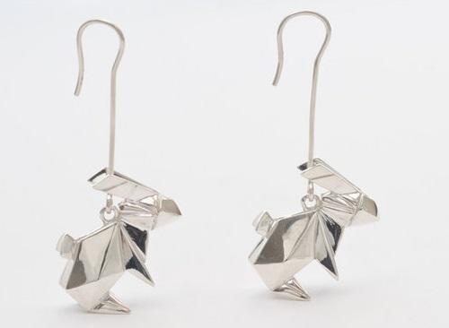 Hare earrings. Origami jewelry. Sterling silver. Artwork by French designers Arnaud Soulignac and Claire Naa