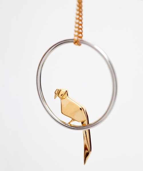 Parrot pendant. Origami jewelry. Sterling silver, gold plated. Artwork by French designers Arnaud Soulignac and Claire Naa