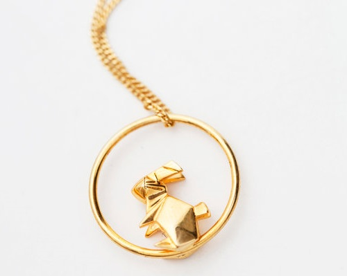Hare pendant. Origami jewelry. Sterling silver, gold plated. Artwork by French designers Arnaud Soulignac and Claire Naa