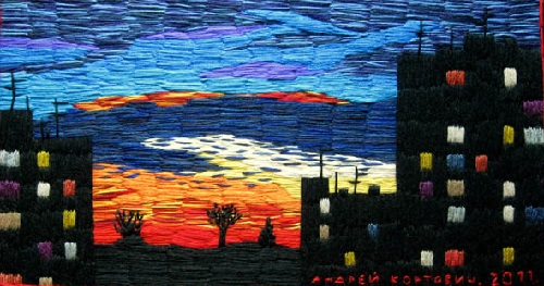 Outskirt of Moscow. Sunset. Acrylic yarn, hand embroidery, 2011