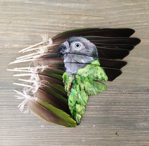 Painting on feather by American self-taught artist Jamie Homeister