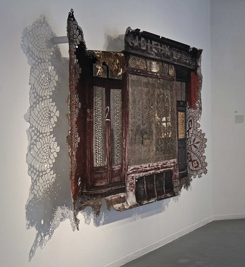 Myriam Dion paper lace curtains