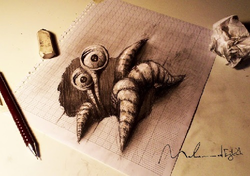 Paper monster. 3D pencil drawing by Muhammad Ejleh
