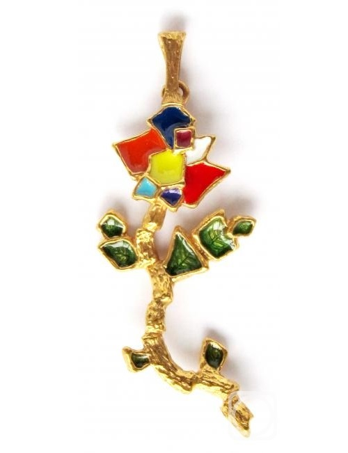 Pendant 'Applique flower'. Made on drawing by jeweler's daughter Eva. Bronze, gilded, cold enamel