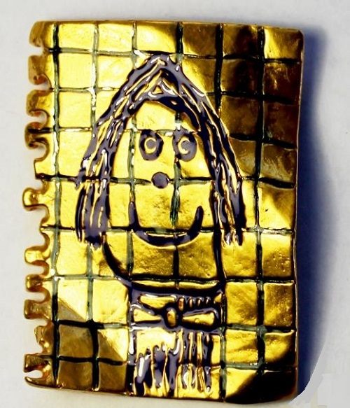 Children People jewelry art. Pendant 'Optimist'. Made on drawing by jeweler's daughter Eva. Bronze, gilded, cold enamel