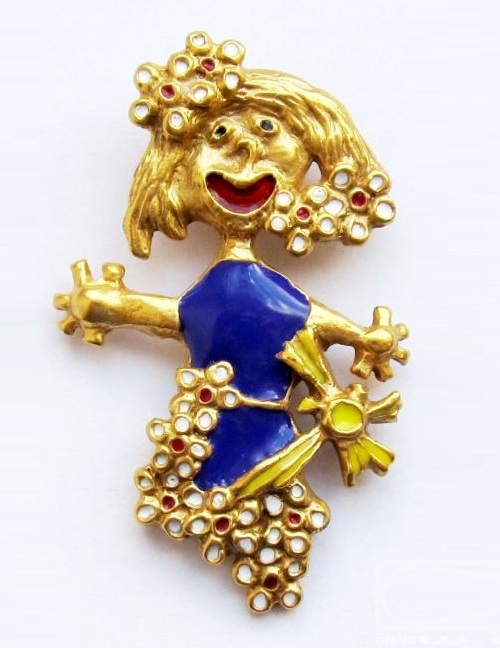 Pendant - brooch 'Mom in spring'. Bronze, gilding, Cold enamel