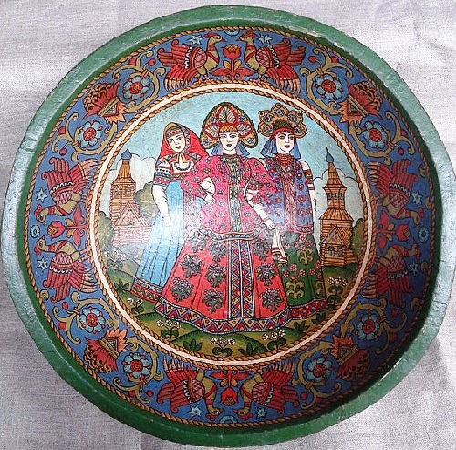 Plate 'Three Maidens'. hand-painted in the style of Russian modern