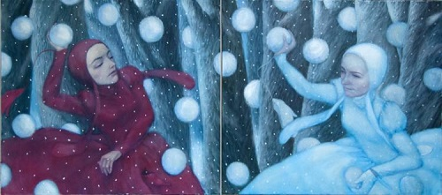 Playing snowballs. Painting by Russian artist Natalia Syuzeva