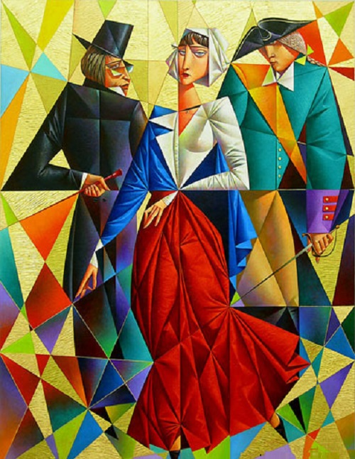Portrait Of The Family. Geometrical painting by Georgy Kurasov