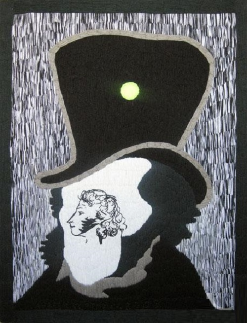 Portrait of Pushkin. Acrylic yarn, hand embroidery, 2010