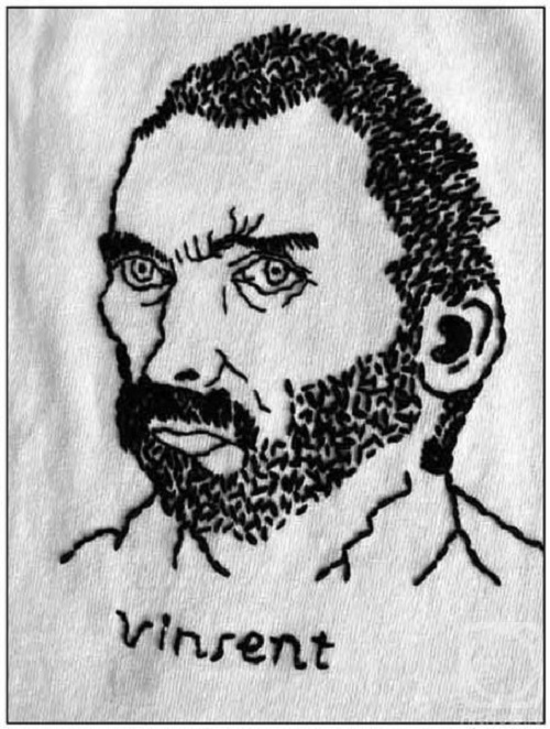 Portrait of Vincent van Gogh. muline, hand embroidery, 2004