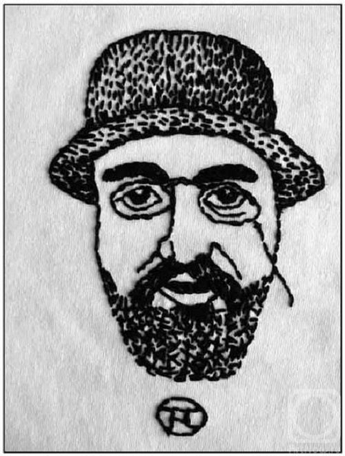 Portrait of the artist Toulouse-Lautrec. muline, hand embroidery, 2004