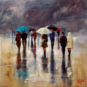 Walking under umbrellas. Painting by Australian artist Helen Cottle