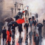 City street crowded with people on a rainy day. Painting by Australian artist Helen Cottle