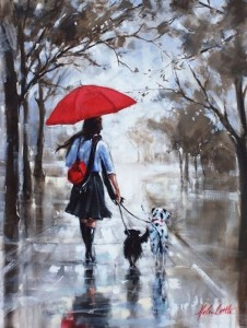 A girl with umbrella walking her dogs in the alley. Painting by Australian artist Helen Cottle