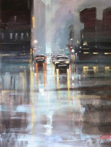Cars in the street. Rain in painting by Australian artist Helen Cottle