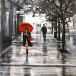 Red umbrella. Painting by Australian artist Helen Cottle