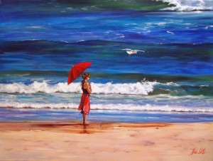 At the seaside. Rain and umbrellas in painting by Australian artist Helen Cottle