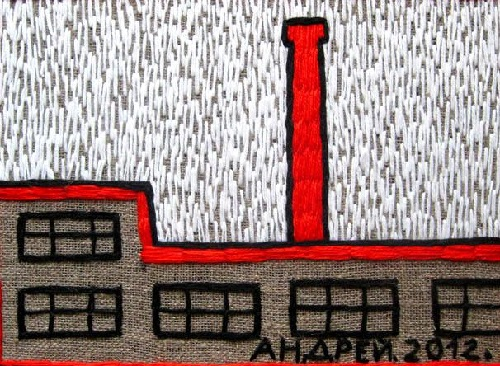 Red Pipe. Acrylic yarn, 2012. Embroidery by Russian artist Andrey Kortovich