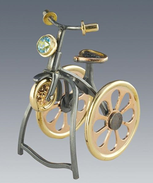 Ring Bicycle. Silver, gold, topaz. Boris Kolesnikov Jewelry art