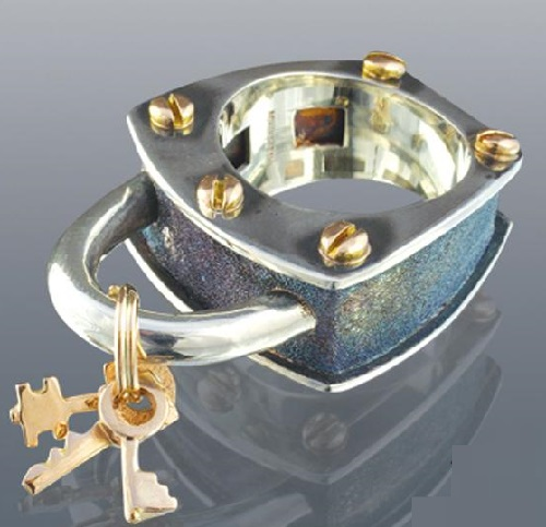 Ring 'Lock'. Gold, silver. Boris Kolesnikov Jewelry art