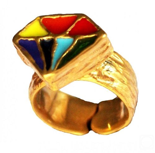 Ring 'Mom's diamond'. Made on drawing by jeweler's daughter Eva. Bronze, gilded, cold enamel. Children People jewelry art collection