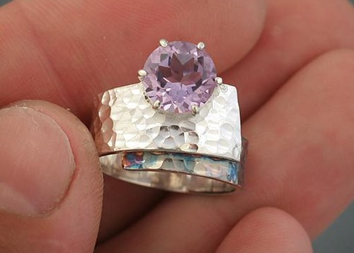 Ring 'Purple Sunset'. silver, amethyst. Artwork by Russian jeweler Boris Kolesnikov