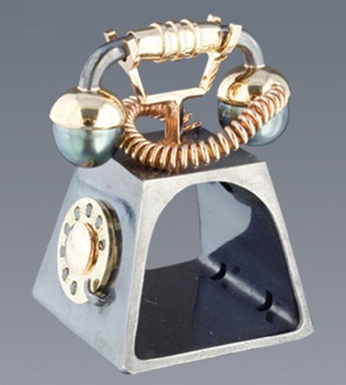 Ring 'Telephone'. Silver, gold, pearls, diamonds. Boris Kolesnikov Jewelry art