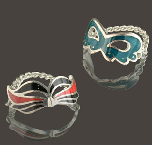 Ring masks. Silver, enamel. Artwork by Russian jeweler Boris Kolesnikov