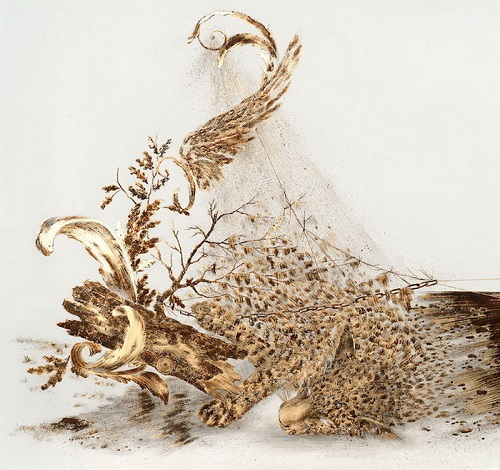 Sarah A. Smith Drawing, metal leaf, corrosive, ink and pencil on paper