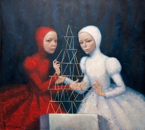 Sisters. Winter painting by Natalia Syuzeva